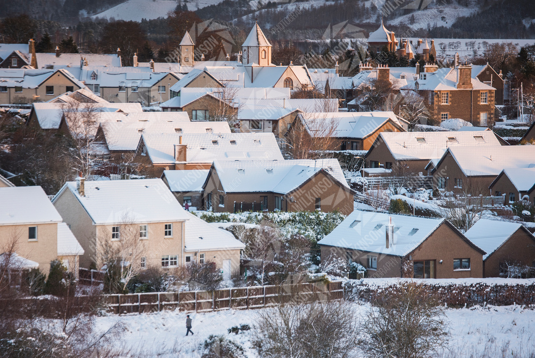 Snow on rooftops of Lauder ,Scottish Borders, Scotland