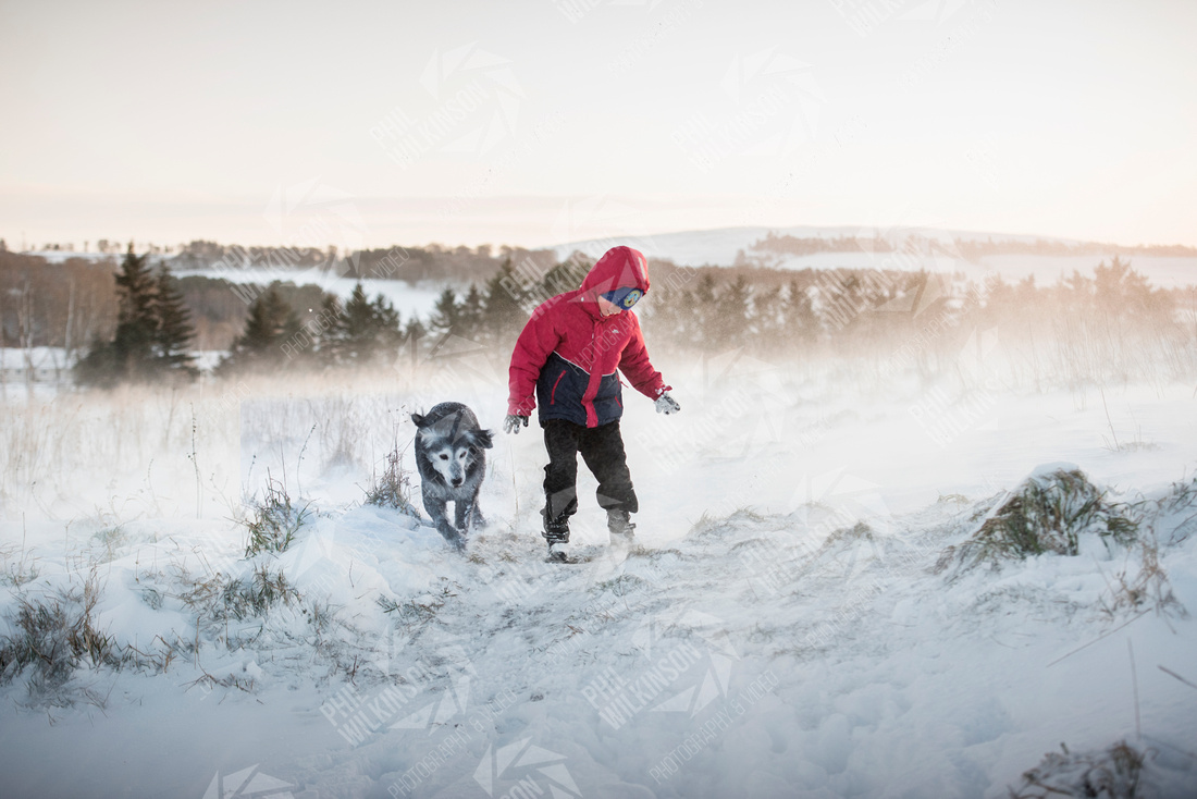 Photograph of  boy and dog in drifting snow , Lauder , Scottish Borders